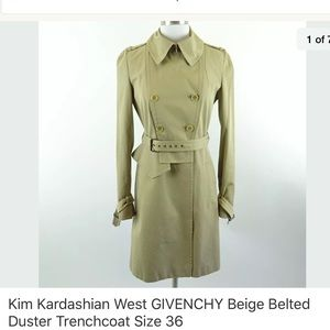 Givenchy Beige Belted Duster Trenchcoat, Size 36